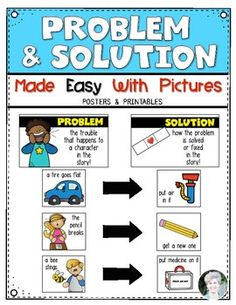 Teaching problem and solution for Kindergarten and First Grade. Posters, printables and more! $