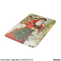 Shop Santa Claus - Bath Mat created by GRAPHICSITE. Feeling Great, How Are You Feeling, Christmas Themes, Christmas Holiday, Xmas, Bunting Flags, Retro Ideas, Chocolate Box, Table Cards
