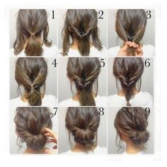Top 10 Messy Updo Tutorials For Different Hair Lengths ❤ liked on Polyvore featuring tops, round top, holiday tops, party tops, cocktail tops and going out tops