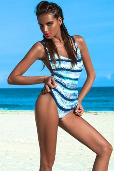 """AKITA"" Reversible chic Monokini with thick lace-up in the back."