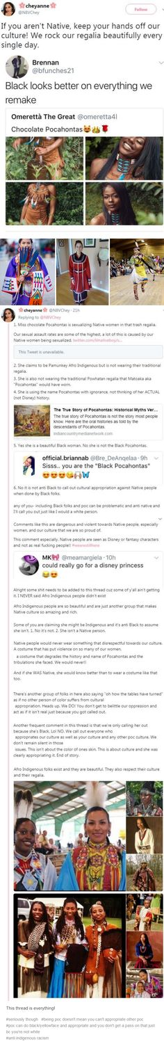 #being poc doesn't mean you can't appropriate other poc #poc can do black/yellowface and appropriate and you don't get a pass on that just bc you're not white #anti indigenous racism. http://imaginal.tumblr.com/post/163967344336