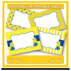 Instant Download, Minions Despicable Me 2 Printable Labels or Buffet Cards. Perfect for stickers, tags, thank you notes, party labels, etc. on Etsy, $3.50