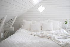 white attic bed