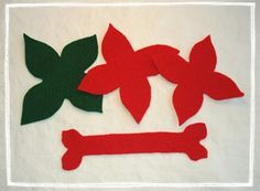 Poinsetta's felt napkin rings, craft - http://www.holiday-crafts-and-creations.com/christmas-napkin-rings.html