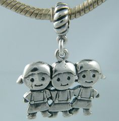Three Sisters Smaller Sterling Silver Dangle Charm