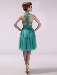 Elegant Sea Green Jewel Neck Rhinestone A-line Tulle Prom Dress