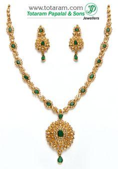 Totaram Jewelers: Buy 22 karat Gold jewelry & Diamond jewellery from India: Uncut Diamond Necklace Sets