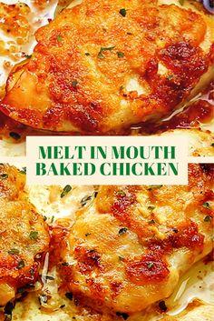 Oven Chicken Recipes, Oven Baked Chicken, Baked Chicken Breast, Meat Recipes, Cooking Recipes, Baked Chicken Tenderloins, Recipies, Healthy Baked Chicken, Crispy Chicken