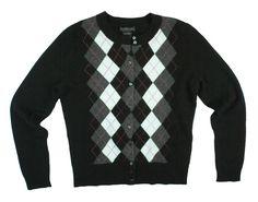 ac490fa8a521d LORD  amp  TAYLOR Size S 100% Cashmere Black Argyle Cardigan Sweater   LordTaylor