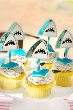 Don't miss this excellent shark-themed birthday party! The cupcakes are wonderful! See more party ideas and share yours at CatchMyParty.com  #catchmyparty #partyideas #shark #sharkparty #boybirthdayparty #undertheseaparty Shark Cupcakes, Mini Cupcakes, Birthday Party Themes, Girl Birthday, Sea Cakes, Cupcake Images, Cupcake Bakery, Cupcake Flavors, Beautiful Cupcakes