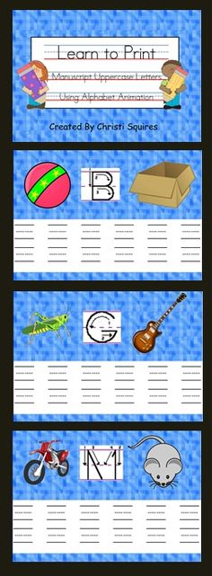 FREE!  Learn to Print Manuscript Uppercase Letters Using Alphabet Animation   This SMARTBoard lesson has 26 pages. Each page helps to teach one letter of the alphabet. Animation clip art has been added to each page to show students the proper way to make each letter. This frees up the teacher to walk around the room and help the students who need more guidance in making the letter. Students will also enjoy going to the board and making the letters.