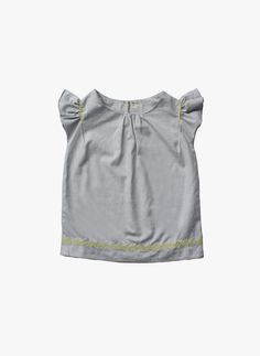 Vierra Rose Ella Embroidered Top in Pale Chambray - FINAL SALE