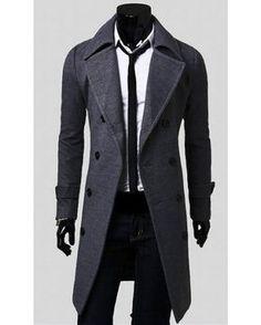 Manteau long pour homme avec fermeture à bouton et col large Homme Chic,  Vêtements Homme 609271f0877e