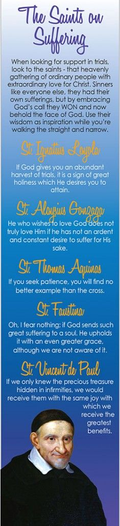 The saints on suffering. Examples of living to aspire to in one's life.