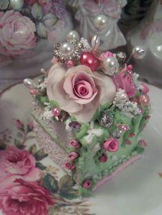 Trina Rosa Fake Cake Slice Rhondasrosecottagedesignscom Faux