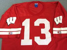 Vintage UW BADGERS #13 Football Jersey CHAMPION University of Wisconsin 48 EUC #Champion #WisconsinBadgers