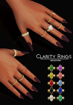 Clarity Rings ring boho fashion for teens vintage wedding couple schmuck verlobung hochzeit ring The Sims 4 Pc, Sims Four, Sims 4 Mm Cc, Sims 1, Sims 4 Mods Clothes, Sims 4 Clothing, Sims 4 Nails, Maxis, Sims 4 Cc Makeup