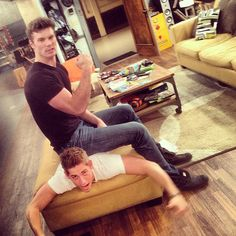 Derek Theler and his buddy. Baby Daddy is a great show!