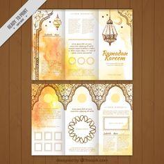 Aquarela três dobras de ouro ramadan Vetor grátis