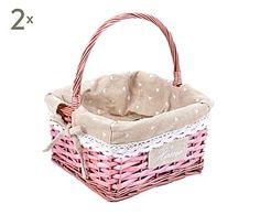 Set de 2 cestas de mimbre y poliéster - rosa