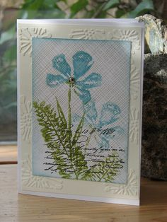 blue spring by franziska2010, via Flickr. Hero Arts - CL431 Watercolor Petals clear stamps and S5507 Envelope pattern background.