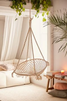 Indoor hanging furniture can bring a whimsical touch to any room inside the house. Macrame Hanging Chair, Macrame Chairs, Diy Hanging, Hanging Chairs, Swing Chairs, Lounge Chairs, Hanging Swing Chair, Hammock Swing Chair, Hanging Beds