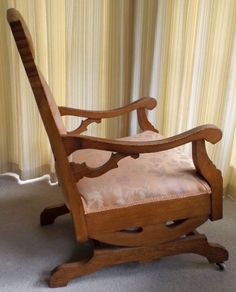 Antique Oak Upholstered Platform Rocking Chair Rocker .