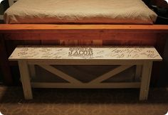 Rustic Wedding Guestbook Bench