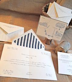 Invitaciones de boda con sobre forrado en rayas by Silvia Galí. www.silviagali.com