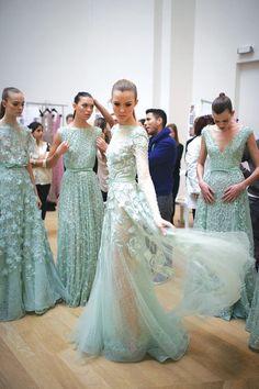 Mint green Elie Saab. Floral, sheer, maxi. #TopshopPromQueen