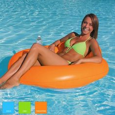 Designer Series Float | It's easy to stay comfortable in this pool float.  Relax, tan and stay cool and enjoy the simple design, comfortable mesh seat and built-in headrest.