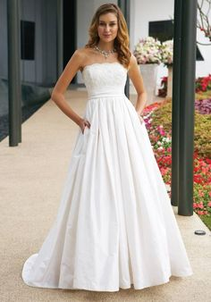 Riveting Empire Wasit Lace Taffeta Chapel Train Wedding Gowns - Wedding Dresses