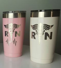 RN custom Tumbler | Nurse Yeti Cup | powder coated Tumbler | Yeti Nurse Decals | RN Car Stickers | Nurse Decal Stickers