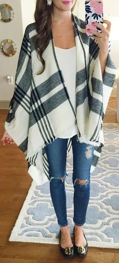 Plaid Poncho Outfit Idea by Southern Curls and pearls