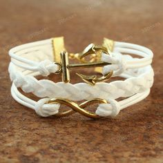 Anchor bracelet - white infinity bracelet with anchor symbol charm for girls, unique lover jewelry. $7.99, via Etsy.