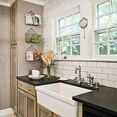Haskell Harris' cottage kitchen. white subway tile...love.