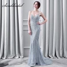 Kaufen Luxus Kristall Grau Abendkleider Sexy Spaghettibügel Lange Mermaid  Tulle Sweep Zug Fashion Frauen Prom Party. Grey Evening DressesLong ... 808a30e7d6f3