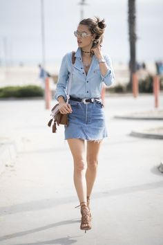Go for a girly Canadian tuxedo with a denim mini skirt and chambray shirt.