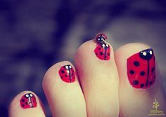 Cute Lady Bug Nail Design