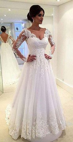 Long Sleeves Lace A-line Wedding Dresses V Neck Open Back Floor Length Bridal Gowns
