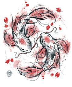 Japanese Koi Duvet Cover by Daisyart_lab - Queen: x Koi Fish Drawing, Fish Drawings, Pez Koi Tattoo, Mermaid Art, Mermaid Paintings, Vintage Mermaid, Japanese Dragon Tattoos, Japanese Koi Fish Tattoo, Koi Art