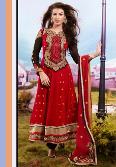 #Red #Anarkali Churidar Kameez