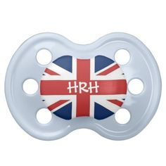 'HRH' His Royal Highness British Flag Pacifiers in Blue