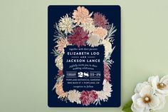 Dahlia Bouquet Wedding Invitations by Alethea and Ruth at minted.com