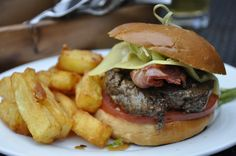 Fantastic bacon burger at Boulters Terrace Bar and Restaurant in Maidenhead. Fries were delicious too - nice and crunchy (though it needed a touch of salt)!