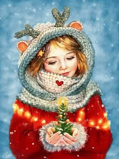Diamond Painting Christmas Girl Holds a Christmas Tree in Her Hand Paint with Diamonds Art Crystal Craft Decor Christmas Scenes, Noel Christmas, Vintage Christmas Cards, Christmas Pictures, Winter Christmas, Christmas Crafts, Christmas Decorations, Reindeer Christmas, Father Christmas