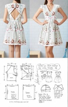 The back is the open dress. Sweet little dress pattern Fashion Sewing, Diy Fashion, Ideias Fashion, Dress Sewing Patterns, Clothing Patterns, Skirt Patterns, Coat Patterns, Pattern Dress, Blouse Patterns