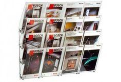 Wandprospekthalter CONCEPT, bestehend aus einzelnen Wandelementen, die in beliebiger Anzahl aneinander gereiht werden können.  Jedes Segment besitzt 2 Stahldraht-Rahmen, die jeweils 4 Acrylglaskästen aufnehmen. Die Kästen sind für DIN A4-Hochformate ausgelegt und haben eine Fülltiefe von 60 mm. http://www.starexpo.de/prospekthalter/wandprospekthalter/wandprospekthalter-concept/