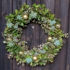 gold ornaments mixed in with succulents