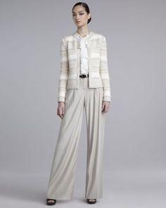 St. John - Shop Online - Collection - Lofty Hand-Knit Jacket, Crepe de Chine Blouse & Wide-Leg Pants